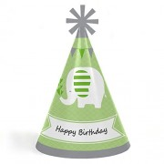 Big Dot Of Happiness Green Elephant - Cone Happy Birthday Party Hats For Kids And Adults Set 8 (Standard Size)