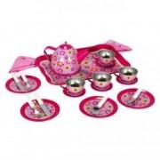 Set pentru ceai metalic roz copii model flori