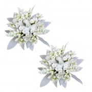 Ljusmanschetter 2-pack vita blommor