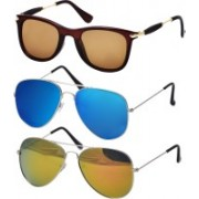 Freny Exim Aviator Sunglasses(Yellow, Blue, Brown)