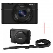 Sony Cyber Shot DSC-RX100 black + Leather case [RX100LCJXXDI.YS] (на изплащане)