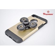 iPhone 7 / 8 Mobile Back Cover Fidget Spinner 608 Four Bearing Premium Quality ABS Material Hand Spinner Tri-Spinner Ultra Speed Toy - Black + Black Wing Bearings