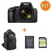 Kit Nikon Coolpix P900 Aparat Foto Bridge Negru bonus Card 128GB + Rucsac Foto Fancier KingKong I 10 + Acumulator Power3000