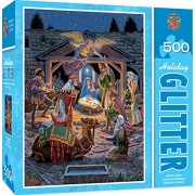 MasterPieces Holiday Glitter Holy Night - Nativity Scene 500 Piece Jigsaw Puzzle