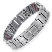Rainso Mannen Sieraden Healing magnetische Bangle Balance Gezondheid Armband Zilver Titanium Armbanden Speciale Ontwerp voor Mannelijke Rainso - Zilveren a