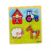 Set Of 3 Farm Puzzles Wooden Animals Puzzle Age For 2 Years 14.8*14.8 Cm