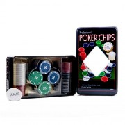 JERN Casino Poker chips with Metal Case (Set with 100 Coins)