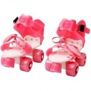 Woobies Pink Skates for Kids with adjustable Inline Skating Shoes for Age Group 5-14 Years
