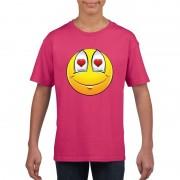 Bellatio Decorations Smiley t-shirt verliefd roze kinderen