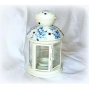 Felinar alb din metal pentru lumanare pastila - blue roses - 122325
