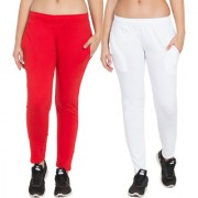 Cliths Women's Combo of 2 Red/White Full Length Cotton Stylish Solid Track-Pant|Gym Lowers For Women
