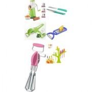 SRK Kitchen Combo Green Rotary Grater Slicer + Vegetable Cutter + Beater / Blender + Fruit Fork +2pcs Knife + 2 in 1 Peeler