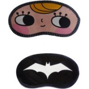 Jenna Cartoon Super Smooth Sleep Mask, Blind Fold And Travel Accessory YellowHairHappy WhiteBat (Pack of 2) Eye Shade(Multicolor)