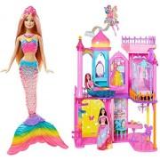 Hot SELLER Barbie DPY39 Rainbow Cove Princess Castle Playset & Barbie Rainbow Lights Mermaid Doll 2 Piece Set