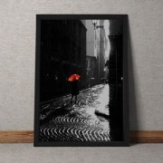Quadro Decorativo Guarda Chuva Vermelho 35x25