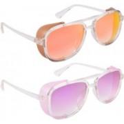 NuVew Wayfarer, Shield Sunglasses(Violet, Red, Golden)