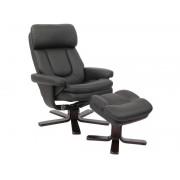 CONFORAMA Fauteuil relaxation + repose-pieds CHARLES coloris noir en PU