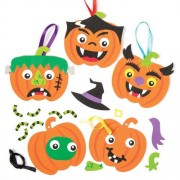 Pumpkin Funny Face Hanging Decoration Kits - Creative Set of Foam Shapes for Children to Create a Halloween Ornament (Pack of 6)