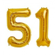 De-Ultimate Solid Golden Color 2 Digit Number (51) 3d Foil Balloon for Birthday Celebration Anniversary Parties