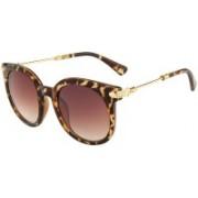 ROZIOR Round Sunglasses(Brown, Golden)