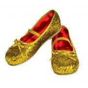 Rubies Costume Gold Glitter Child Flat Shoes, Toddler