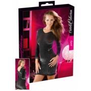 Lesklé šaty - čiernestrieborné