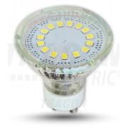 LED-es fényforrás, ( 12 LEDES spot ), 3W-os teljesítményű, GU10 foglalattal, 3000K-es színhőmérsékletü, SMD LED ( 210 lm ) Tracon ( SMD-GU10-12-WW )