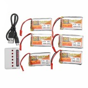 6PCS ZOP POWER 3.7V 1200mAh 30C 1S Lipo Battery JST Plug With Charger For RC Models