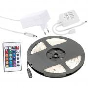 Lunartec RGB-LED-Streifen LC-500N mit Netzteil & Fernbedienung, 5 m, Innen