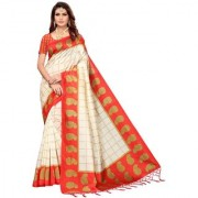 Indian Beauty Women's Red Color Mysore Silk Printed Saree Border Tassels With Blouse Piece(WEDDING-PATTA-RED_Free Size)
