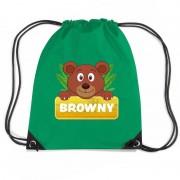 Bellatio Decorations Browny de Beer rugtas / gymtas groen voor kinderen