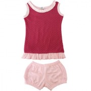 Magic Train Baby Girls Red Cotton Frock and Light Pink Bloomers Set