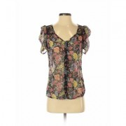 Love, Fire Short Sleeve Blouse: Black Floral Tops - Size X-Small