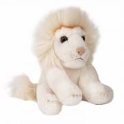 Pluche zittende witte leeuw knuffeldier 15cm