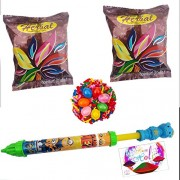 HOLI PICHKAR & HOLI COLORS & HOLI BALLOONS (HOLI CELEBRATION COMBO OF 5) by DECORATIVE BUCKETS: MINION WATER GUN (BALLOON FILLER) WITH 2 HERBAL HOLI COLOUR & 1 PACKET OF WATER BALLOONS: holi water shooter : all new holi 2017 new collection : WATER GUN WIT