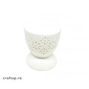 Vas aromaterapie rotund, model floral - alb (1buc)