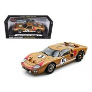 1966 Ford GT-40 MK 2 Gold #5 1/18 Car Model by Shelby Collectibles