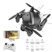 ZLMI Mini FPV Drone, 200W HD Fotografía aérea como Head WiFi Conexión App Control Control Remoto Control Remoto Plegable Quadcopter Altura Fija,Black