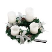 Britesta Couronne de l'Avent avec ornements argentés & 4 bougies à LED