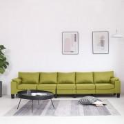 vidaXL 5-местен диван, зелен, текстил
