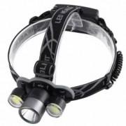 Lanterna De Cap Cree XML-T6 + 2x COB Frontala Zoom + 2x Acumulatori 18650