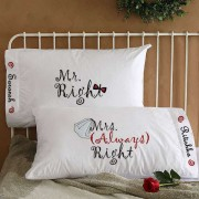 Mr Right Bow and Mrs Always Right Veil Personalized Pillows