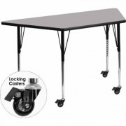 Flash Furniture Adjustable Height Trapezoid Activity Table with Casters - Gray, 30Inch L x 57Inch W x 22 1/4-30 3/8Inch H, Model XUA3060TRPGYTAC