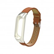 Genuine Leather Watch Bracelet for Xiaomi Mi Smart Band 4 / Mi Band 3 - Brown