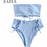 ZAFUL Lace Up Ribbed Strapless Bikini Set-AZUL