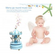 Eh Caja De Música De Madera De Carrusel De Merry-Go-Round Niños Juguetes De Regalo Caja Musical De Wind-Up-Azul