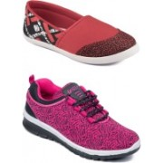 Asian BUTTERFLY-05 & AMY-95 Running Shoes For Women(Pink, Red)