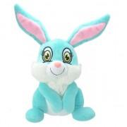 Geen Pluche konijn/haas knuffel blauw 30 cm