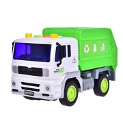 Recycle Trash/Garbage Truck Toy Car Vehicle for Kids Friction Powered for Boys Purifier with Light and Sound 4 Wheels 1:20 Advanced Simulation Model-City Sanitation Series Green and White by Fun Little Toys