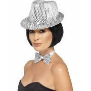 Comedy Silver Sequin Trilby Hat